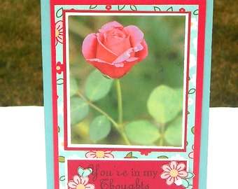 Clearance Thinking of you Card Any Occasion, You're in My Thoughts Card with Red Rose Faux Picture, Sympathy Card
