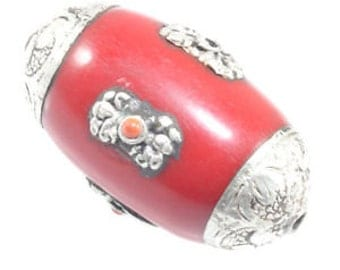 Red Nepalese Beads Red Resin White Metal Artisan Handcrafted jewelry supplies findings  quantity 1 drw11
