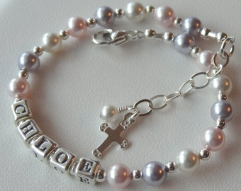 Baptism Pearl Name Bracelet, Personalized Baby Name Bracelet ,Baptism, Christening, First Communion, Flower Girl Bracelet, Pink Lavender