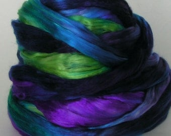 SILK Sliver Fiber cultivated Roving Mulberry Top cultivated SCARAB Supreme Quality A1 PhatFiber Feature Hand Painted for Handspinning Sample