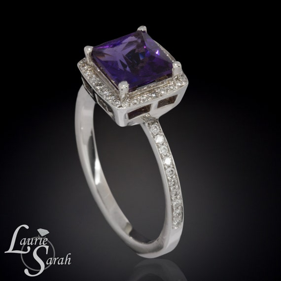 Princess cut royal purple amethyst diamond engagement ring in 14kt