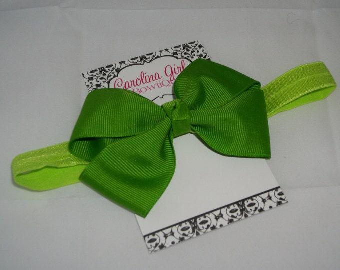 Apple Bow Band - Apple Bow on an Elastic Headband Baby Infant Toddler - Girls Hair Bows