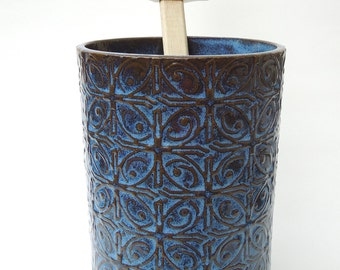 Dark Blue Textured Tin Roof Handmade Ceramic Pottery Utensil Holder Flower Vase