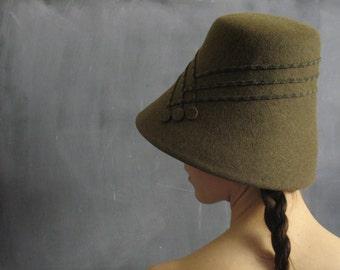 Free Shipping/Can./U.S.-Loden green women's fur felt bucket style hat/  The Gretel no.20