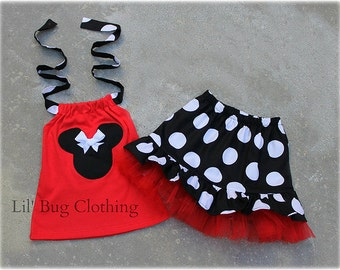 Custom Boutique Clothing Black White Red Jumbo Dot Minnie Mouse Tulle Skirt Halter