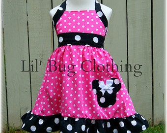 Custom Boutique Clothing Black White Hot Pink  Dot Minnie Mouse Halter Dress