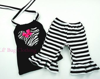 Custom Boutique Clothing Minnie Mouse Zebra And  Black White Stripes Halter And Capris