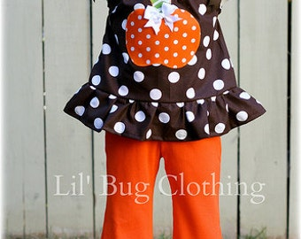 Custom Boutique Clothing Halloween Cocoa Lime Zebra Pumpkin Pant And Pillowcase Top
