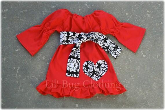 Valentines Day Peasant Dress Girl Black White Damask Heart