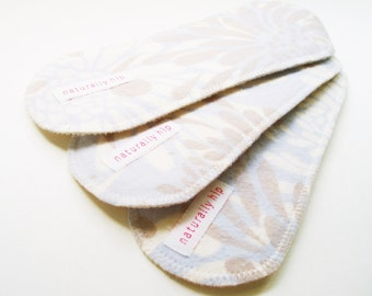 "Set of Three 8"" Organic Hemp Fleece Wingless Panty Liners - Cloth Menstrual Pads - Blue & Taupe"