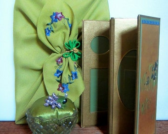 Lime Green 3 Pc Instant Gift Set Pincushion Furoshiki and Frame Gallery, Asian Inspired by Practical Elegance
