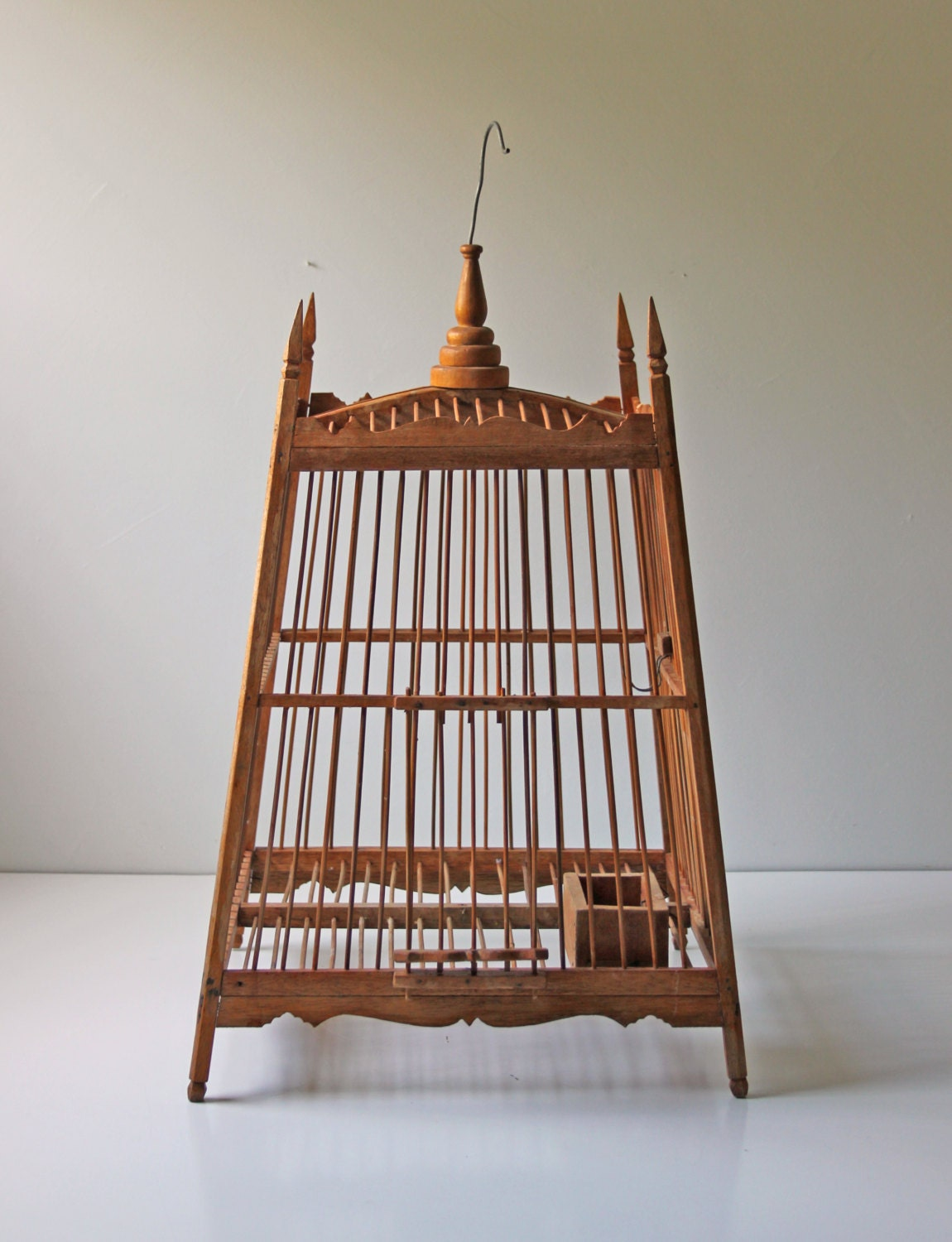 large vintage mahogany decorative bird cage. Black Bedroom Furniture Sets. Home Design Ideas