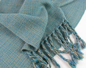 HandWoven Scarf, Light Blue and Tan, Tencel Hand Woven Scarf