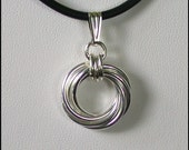 Medium Vortex Chain Maille Pendant in Argentium Sterling Silver