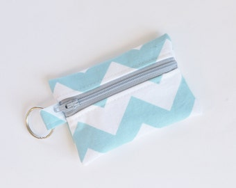 Zippered Pouch, Small Card Case, Ear Bud Case Aqua Chevron