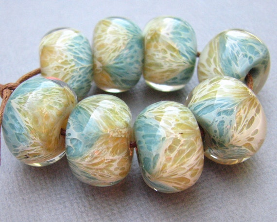 RESERVED for Carrie Lampwork Beads - Boro Beads - Sand and Mint Sea - Two Tone