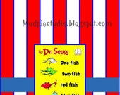 Dr. Seuss Suess Go Fish Tag Topper Label - Digital File