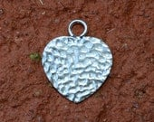 2 Sterling Silver Hammered Heart - Stamping Heart  - 9.1mm x 10.7mm