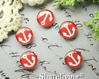 Glass Cabochon, 8mm 10mm 12mm 14mm 16mm 20mm 25mm 30mm Round Handmade photo glass Cabochons  (Anchor) -- BCH211R