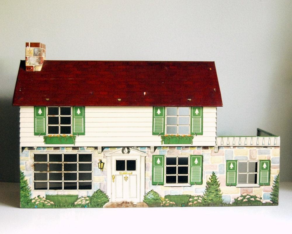 1950s Marx Tin House Vintage Dollhouse Colonial Doll House Mid