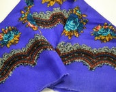 Vintage   Scarf Purple with Teal Roses