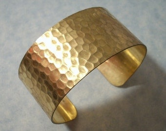 Hammered Cuff Bracelet Unfinished Raw Brass Bracelet Blank Great for Embellishments, Decoupage, Altered Art Projects Brass Cuff Bracelet