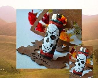 Beaded Lighter Cover - Skull
