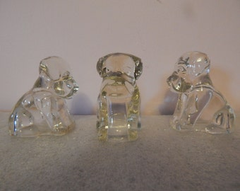 Vintage Trio of Glass Dog Figurines / Former Candy Dispensers