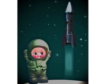 kewpie astronaut print aceo size BWAST OFF