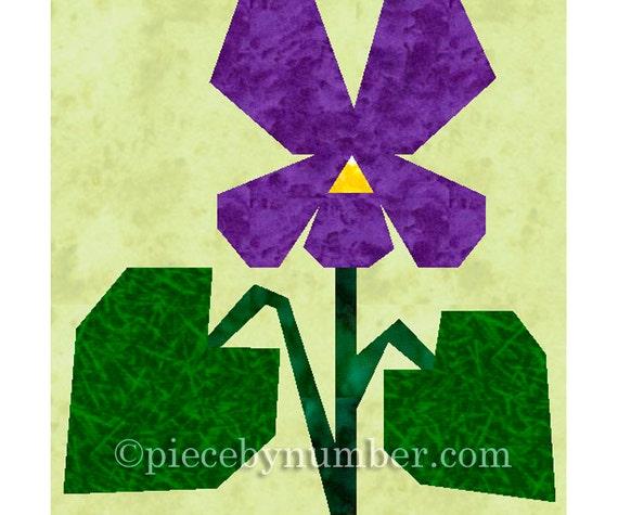 Violet Flower Quilt Block Paper Pieced Quilt Patterns Instant