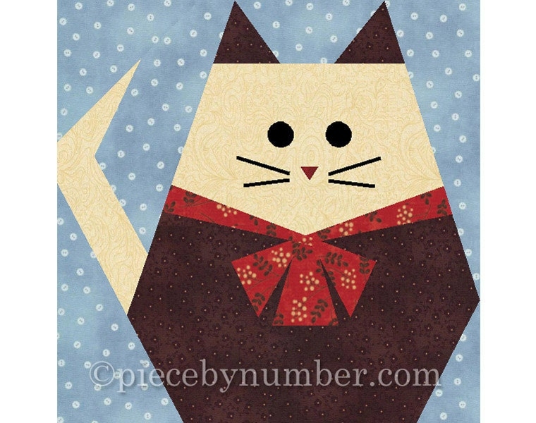 Fat Cat quilt block paper pieced quilt patterns instant : free cat quilt patterns download - Adamdwight.com