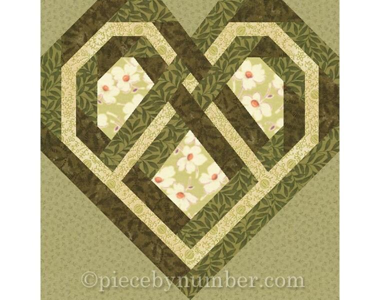 Celtic Heart quilt block paper pieced quilt patterns instant