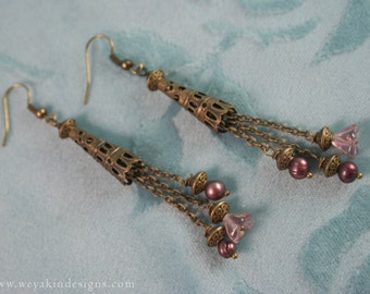 Antique Rose Earrings - Faerie Renaissance Style Cone Earrings with Brass Chain, Purple Pearl & Pink Flower Beads