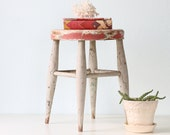 Vintage Wooden Stool - with red and gray chippy paint - bellalulu