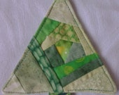 Crazy Quilt Tree Ornament   Green 02