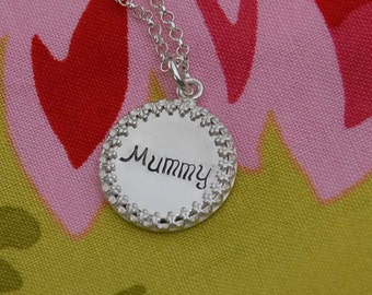 simple coin set hand stamped pendant, you choice of wording