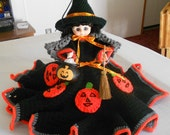 Collectible Halloween Witch Doll Decoration with Crocheted Jack-O-Lantern Dress Collectable Wtich Doll