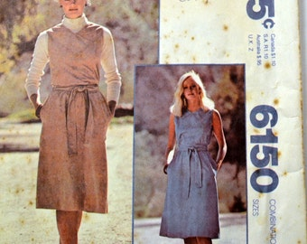 Vintage 1978 Sewing Pattern McCall's 6150 Make It Tonight Misses'  Dress with Belt Size 10 12 14 Bust 32 to 36 Inches Complete