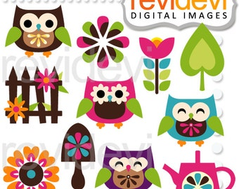 Retro owls clipart - flowers owl digital images - Owl Garden Clipart - instant download, commercial use