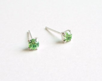 3 mm Small Green Crystal 925 Sterling Silver Stud Earrings - Bridesmaid Gift - Cartilage Earrings - Hypoallergenic  Second Hole Earrings