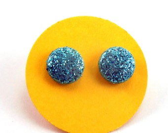 Blue Glitter Dot Earrings