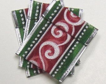 Jewelry Bead Pouches - 10 Silver Red Green Swirl Dot - Ribbon
