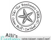 Starfish Round Return Address Stamp - Custom Beach Self Inking Rubber Stamp