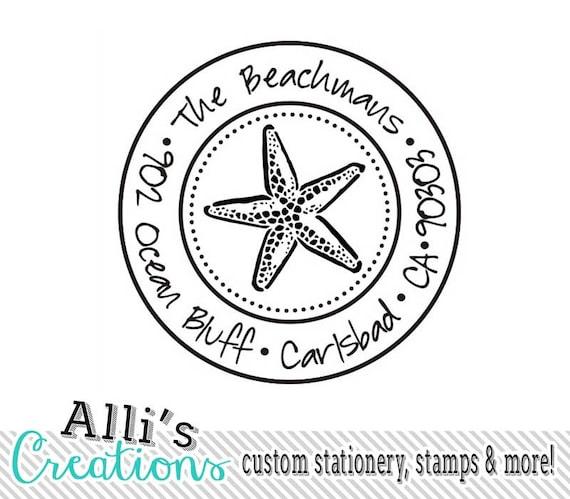 Starfish Round Return Address Stamp - Custom Beach Self Inking Rubber Stamp