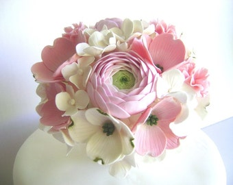 Wedding Cake Topper Dogwoods Hydrangea Carnation and Ranunculus Wedding Cake Flower centerpiece