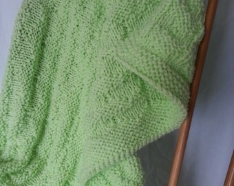 Lime Green Hand-Knit Baby/Lap Blanket