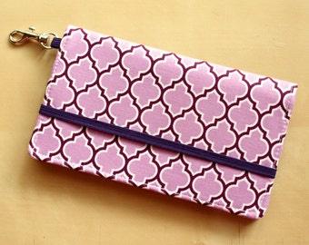 iPhone Cell Phone Wallet - Purple Moroccan Trellis Print - Custom Cell Phone Case - Smart Phone Wallet