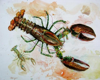 ORIGINAL Extra Large Lobster 22X28 Watercolor Painting Coastal Beach Decor for Maine and New England by Barry Singer
