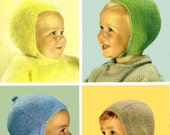 Vintage Childrens Helmets and Balaclarvas, Knitting Pattern, 1960 (PDF) Pattern, Patons 9415