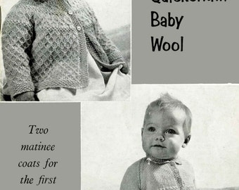 Vintage Baby's Matinee Coat in two Styles, Knitting Pattern,1950/1960 (PDF) Pattern, P&B 221